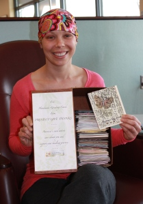 The first person to choose cards from the PROJECT GIVE THANKS box at the Rocky Mountain Cancer Center.  2011